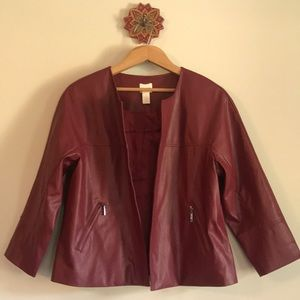 Dark red cropped faux leather jacket, size 1